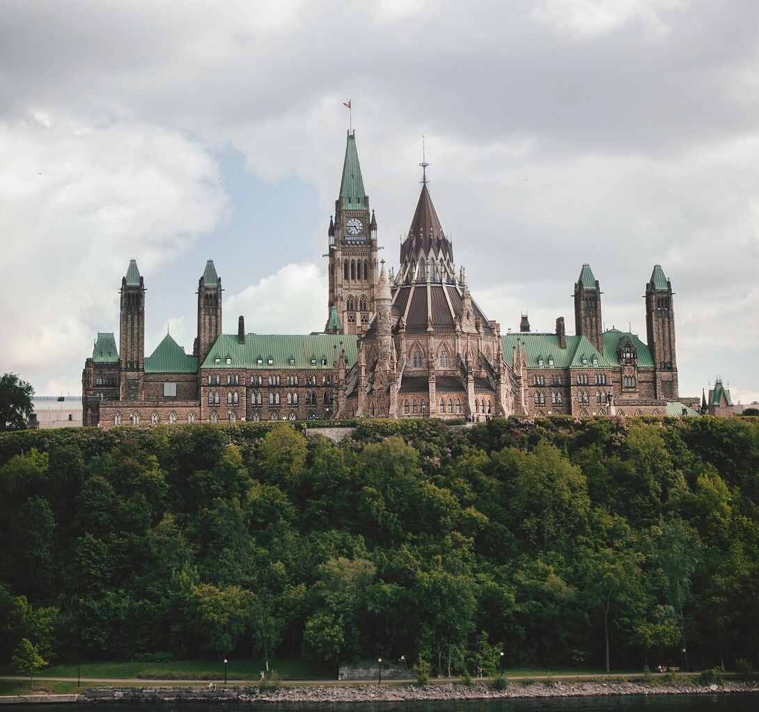 view of Parliament from the Rideau River