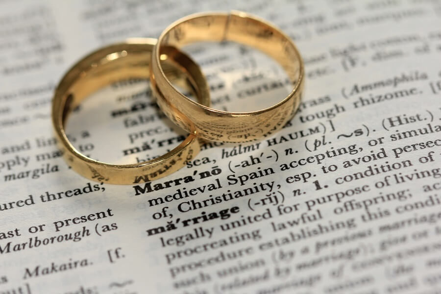 Two wedding rings on top of dictionary definition of marriage