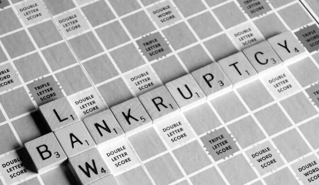 scrabble tiles spelling out bankruptcy